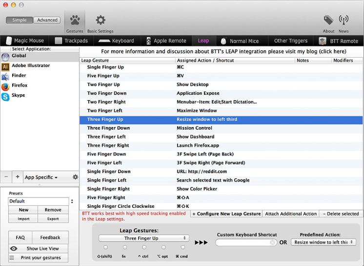 Meilleures Apps pour El Capitan - Better Touch Tool