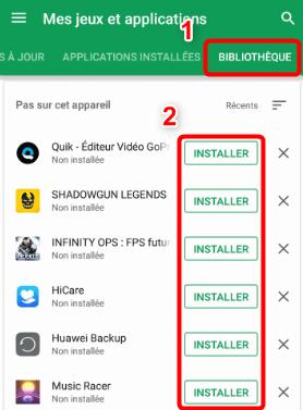 Installer app dans Play Store