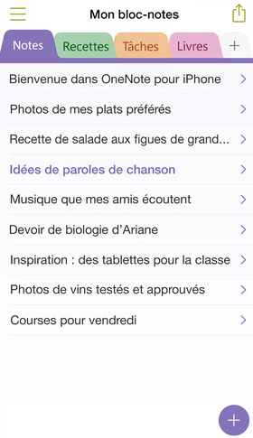 Le bloc-notes de l'application