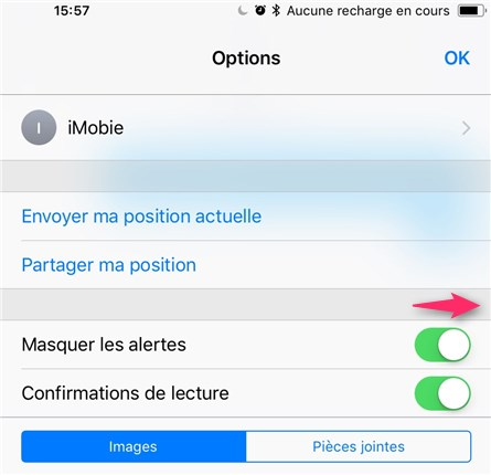 Cacher les alertes d'Messages sur iPhone iOS 11