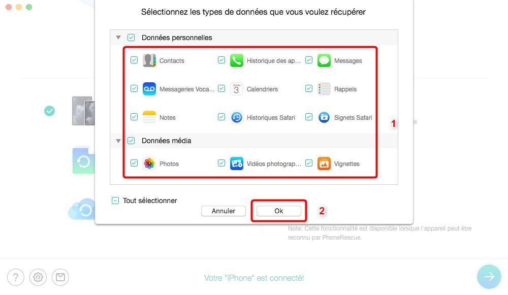 Restaurer les éléments supprimés de calendrier iPhone – étape 2