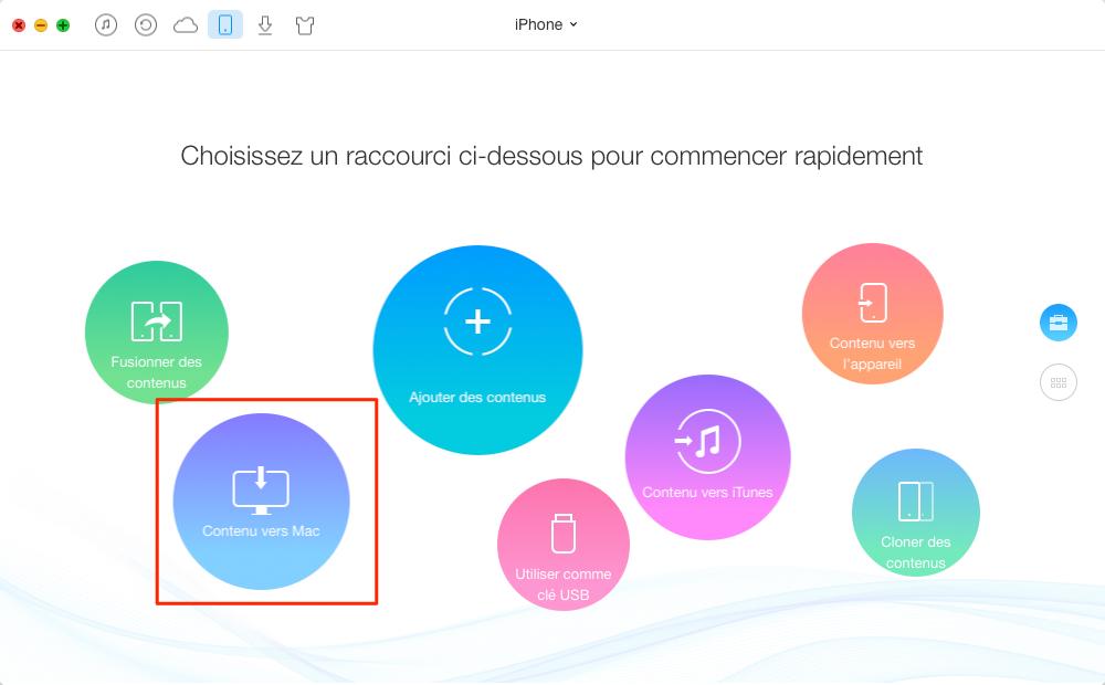 Sauvegarder données d'iPhone/iPad sur destination Mac/PC – étape 1