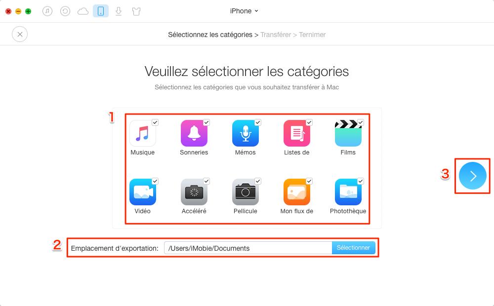 Changer l'emplacement des sauvegardes d'iPhone/iPad – étape 2