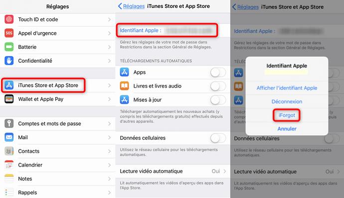 Changement du mot de passe de l'Apple ID