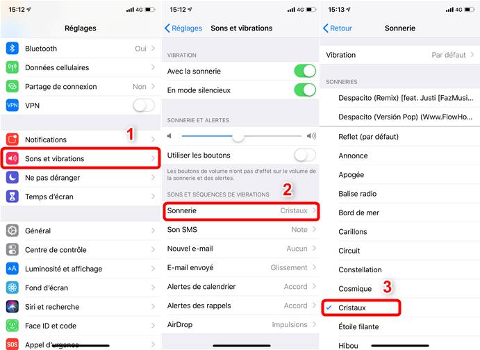 Changer une sonnerie par défaut sur iPhone