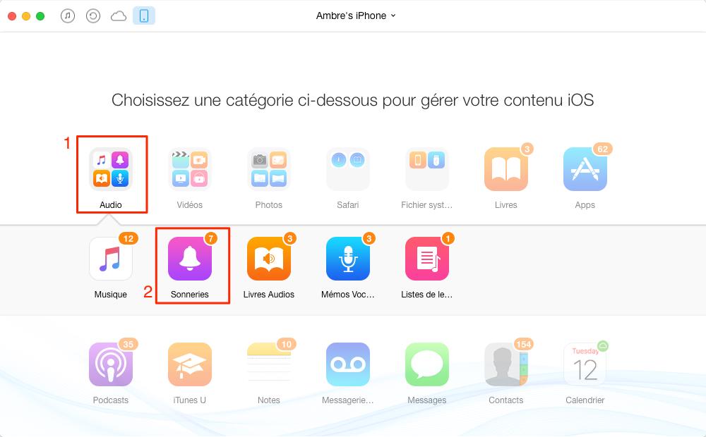 Comment personnaliser les sonneries sur iPhone 4/4s – étape 2