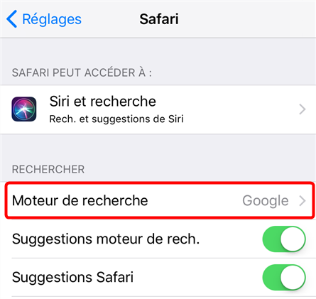 Changer le moteur de recherche Safari sur iPhone – étape 2