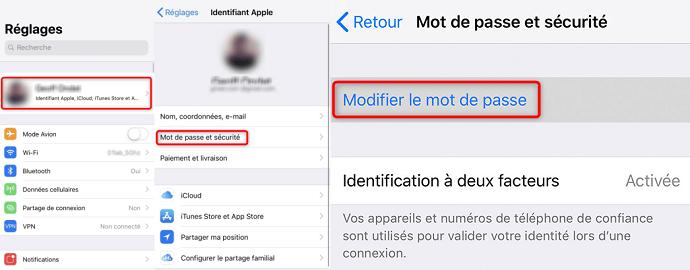 Réinitialisation du mot de passe Apple