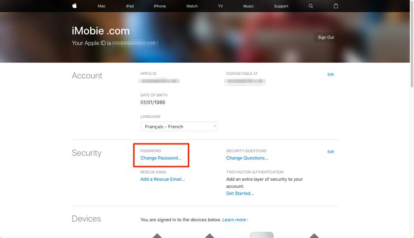 Modifier le mot de passe iCloud avec facilité - étape 1