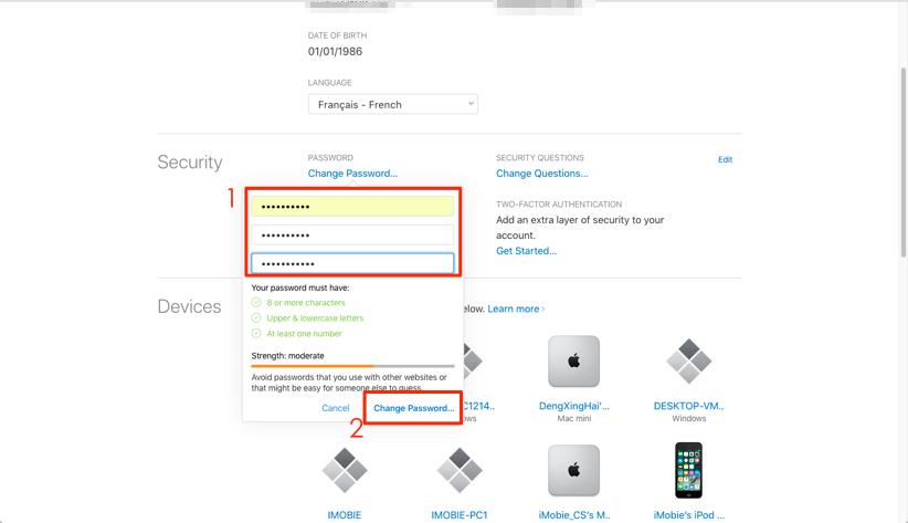 Comment changer le mot de passe iCloud - étape 2
