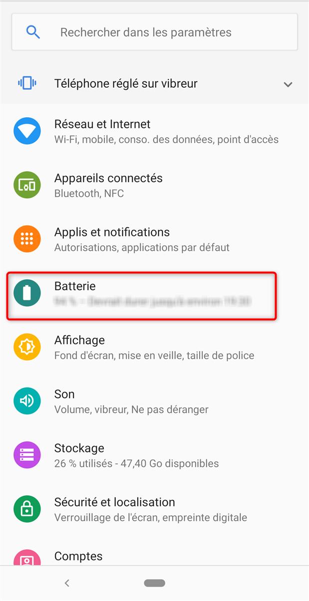 Accès aux paramètres de la batterie