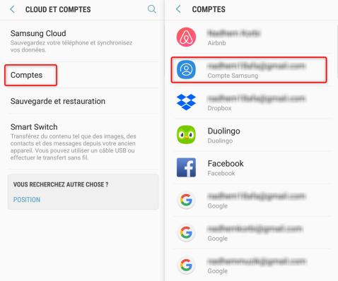 Ouverture des détails du compte Samsung