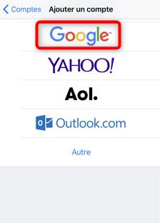 Ajout d'un compte Google