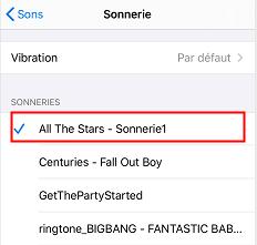 Choisir la chanson comme une sonnerie