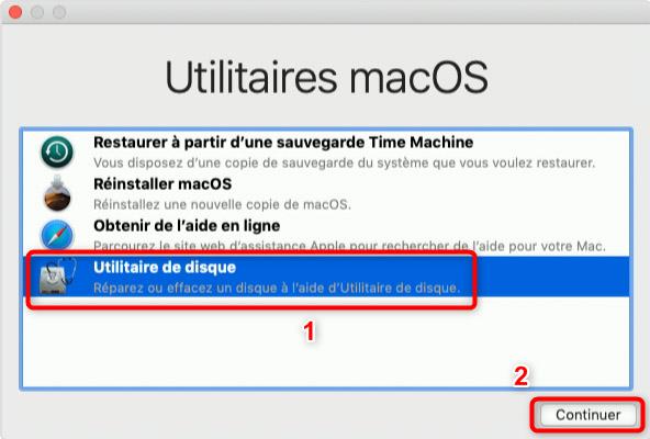 Accès à l'utilitaire de disque sur Mac