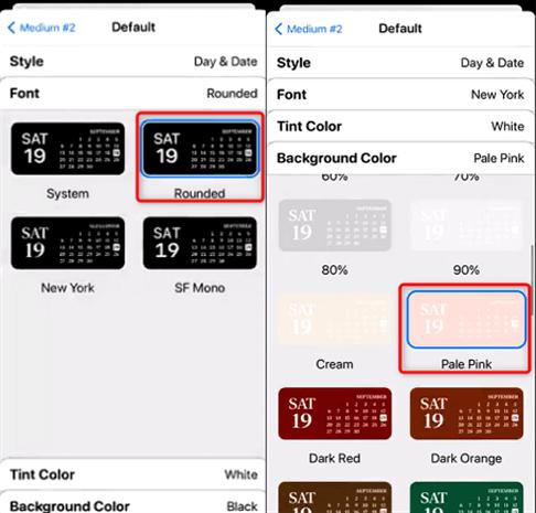 Modification des différents composants du widget