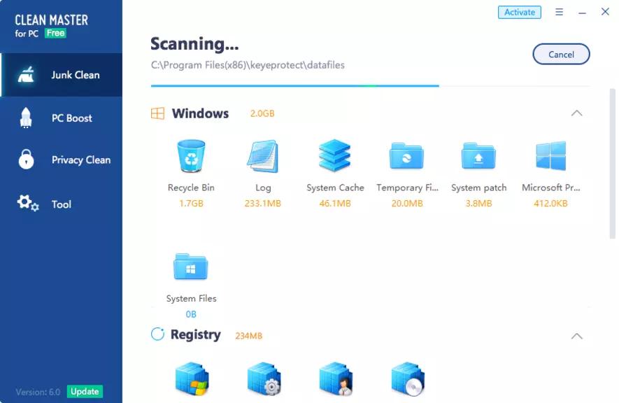 Nettoyage de Windows 10 avec Clean Master for PC