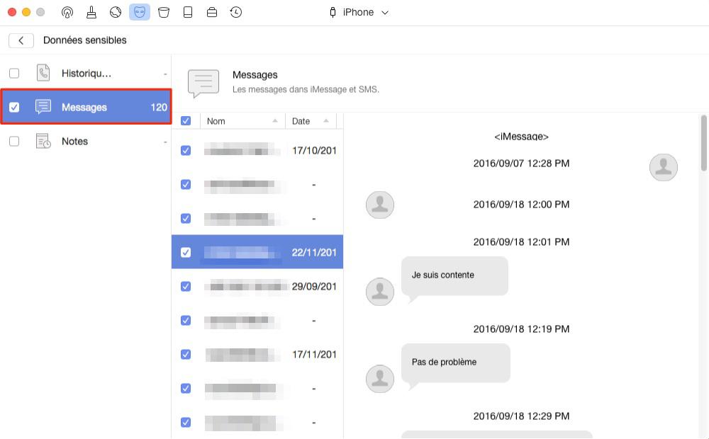 Supprimer les messages sur iPhone avec PhoneClean– étape 3