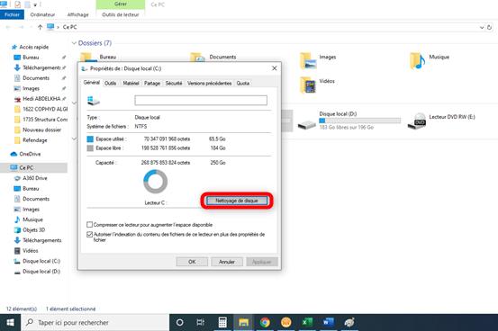 Accès au menu d'élimination des fichiers temporaires