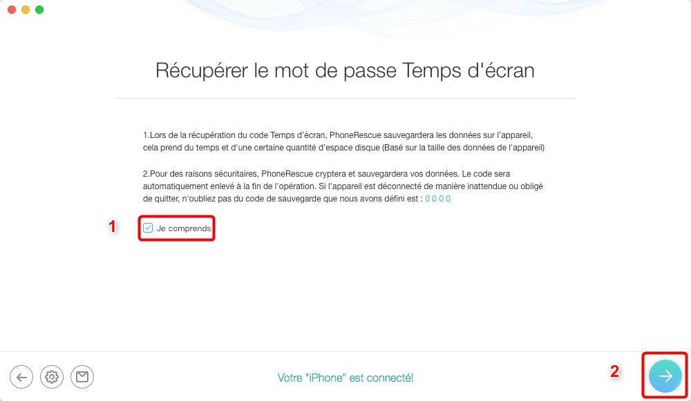 Code pour les restrictions Apple perdu - étape 3