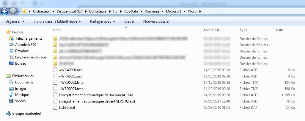 Restaurer un fichier Word