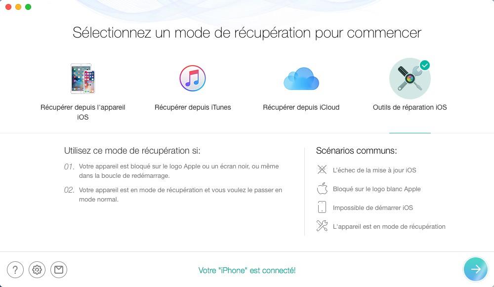 Restauration et réparation sur votre appareil iOS avec PhoneRescue
