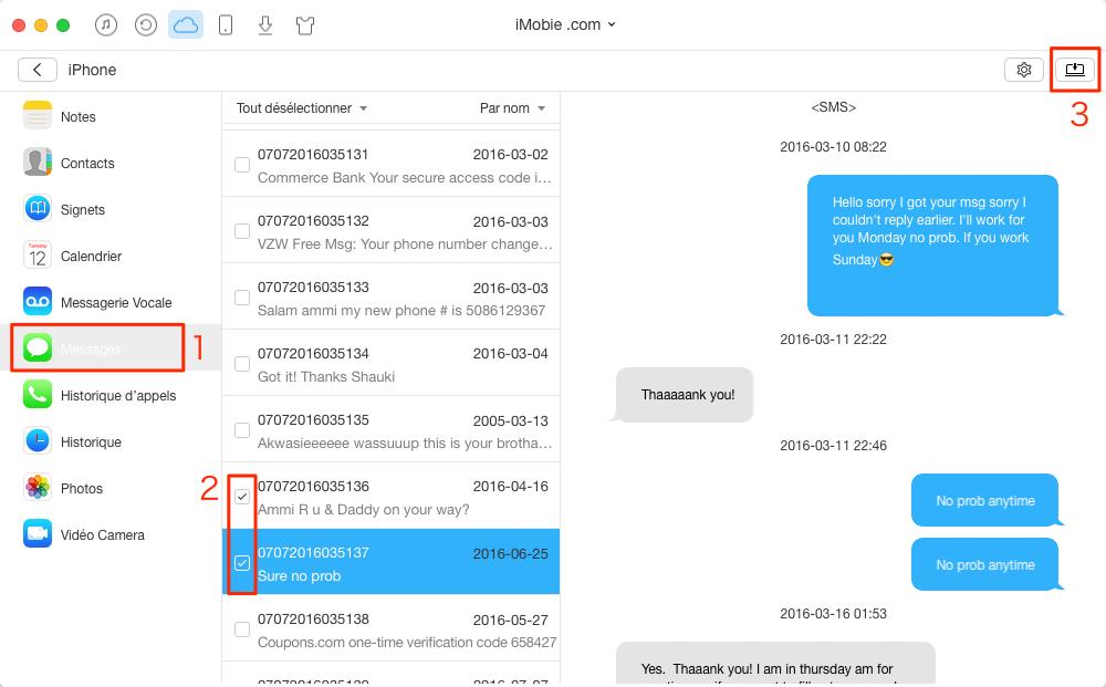 Comment importer des messages iCloud vers PC/Mac – étape 4
