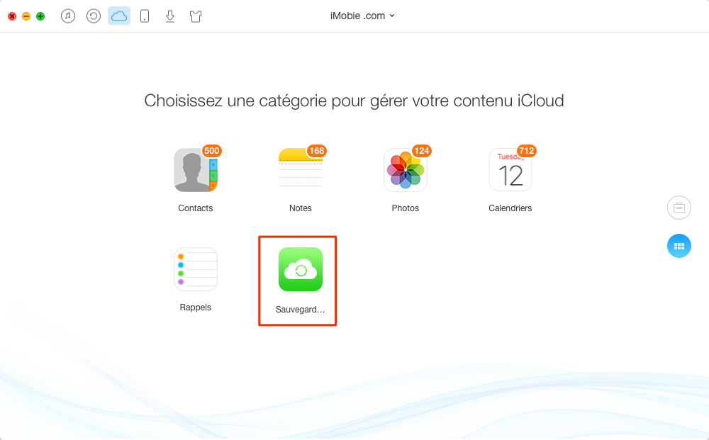 Comment gérer la sauvegarder iCloud avec AnyTrans - étape 2