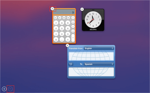 Supprimer Widgets inutilisés du tableau de bord pour accélérer Mac