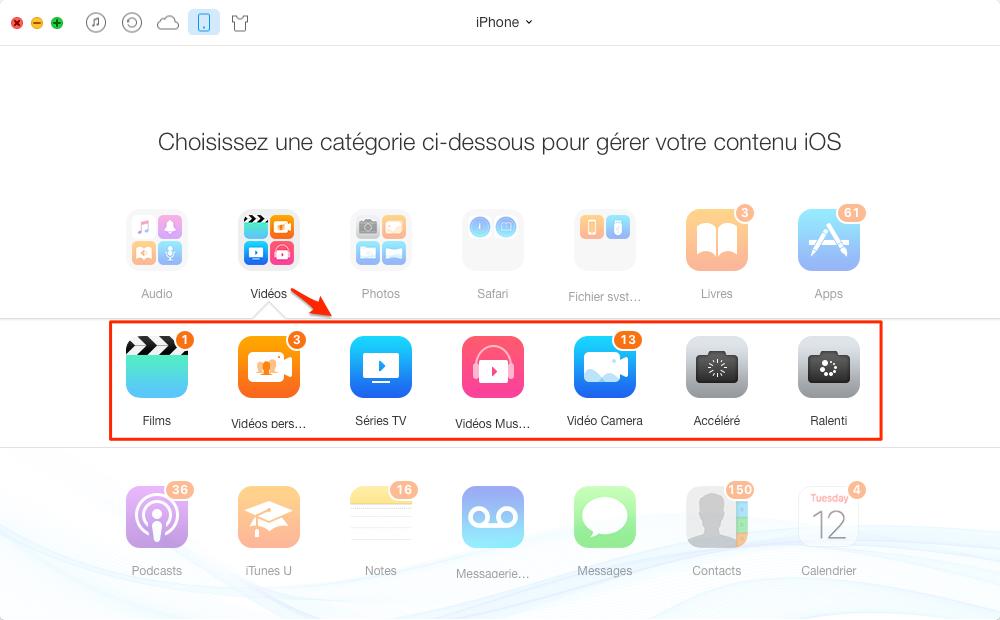 Comment ajouter une vidéo sur l'iPhone sans iTunes – étape 2