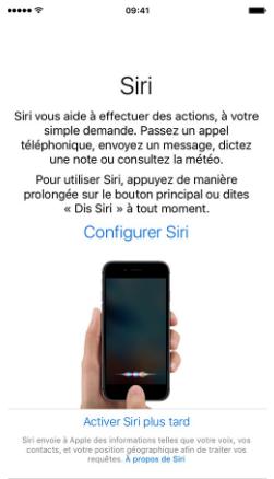 activer Siri sur iPhone 7