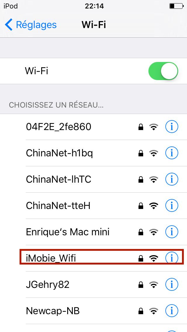 Activer l'option Wi-Fi sur l'appareil iOS