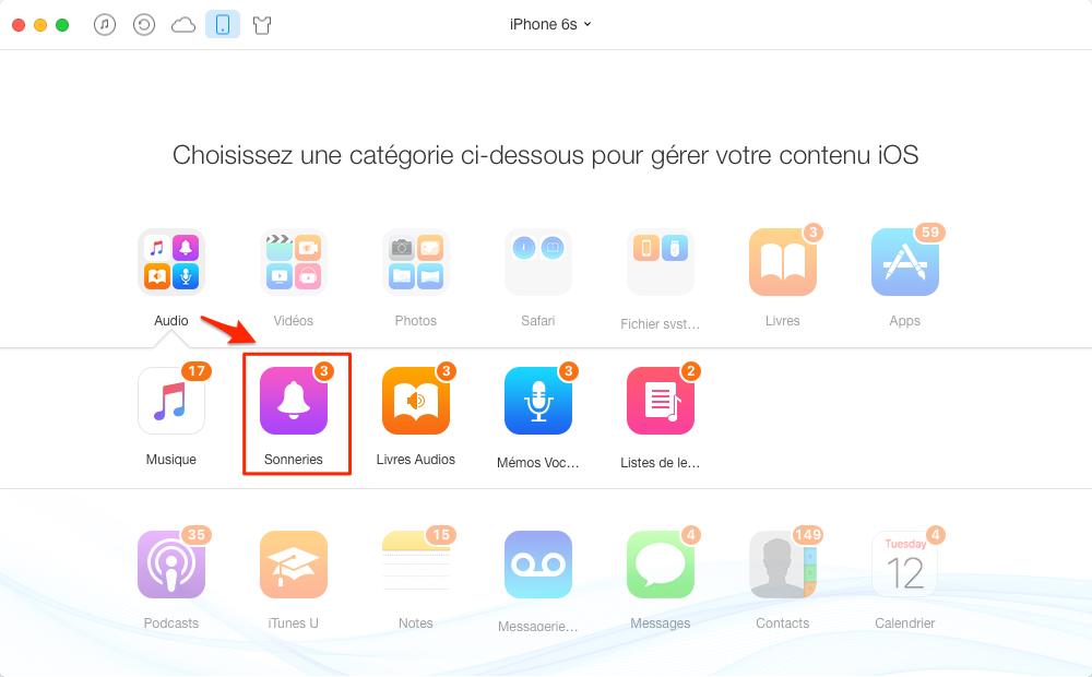 Comment mettre MP3 en sonnerie sur iPhone 4/5/6/7 – étape 3