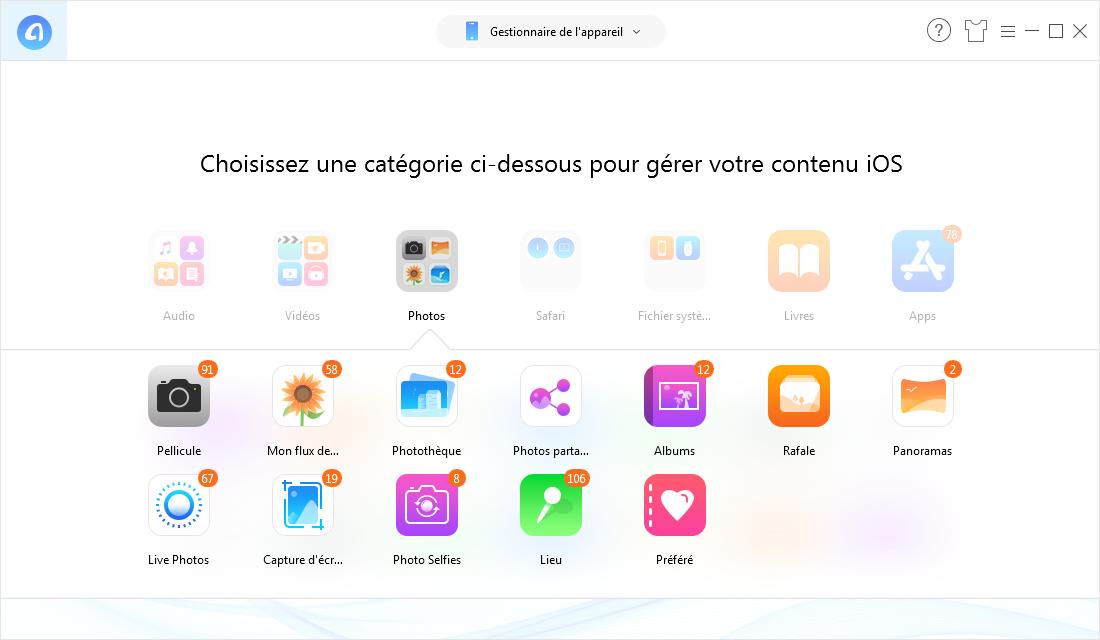 Outil recommandé de gestion et transfert de photos iOS