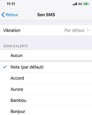 Changer la sonnerie SMS par défaut sur l'iPhone