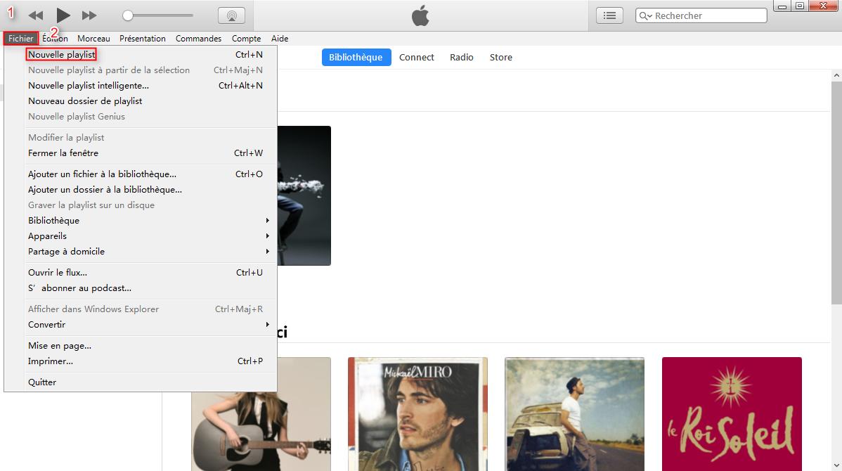 Créer la liste de lecture iTunes directement-étape 1
