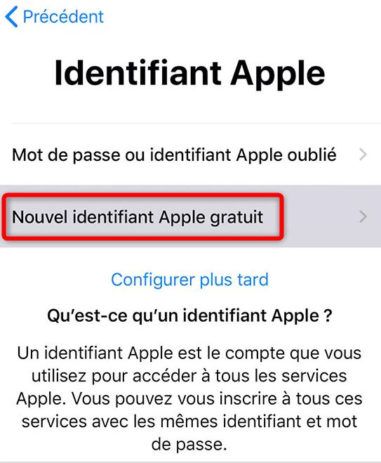Menu de création d'un identifiant Apple