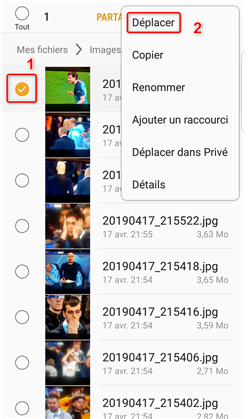 Transfert des photos sur la carte SD