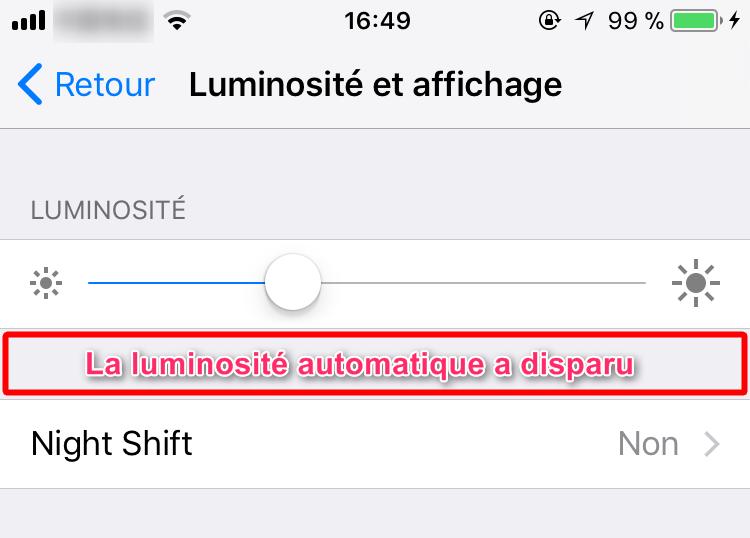 Comment désactiver la luminoté automatique sous iOS 11/11.1