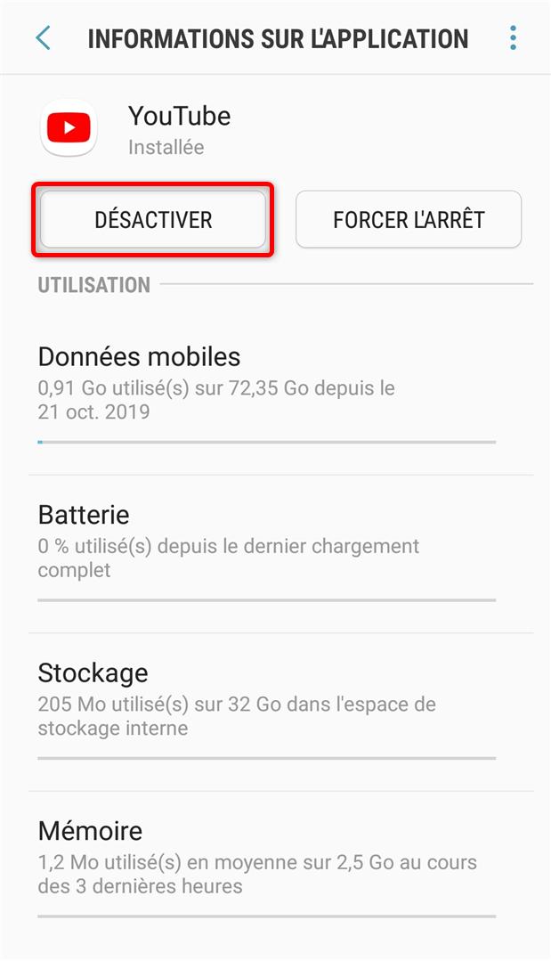 Comment désactiver Youtube sur Android - étape 3