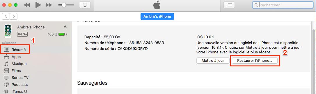 Restaurer l'iPhone via iTunes - étape 4