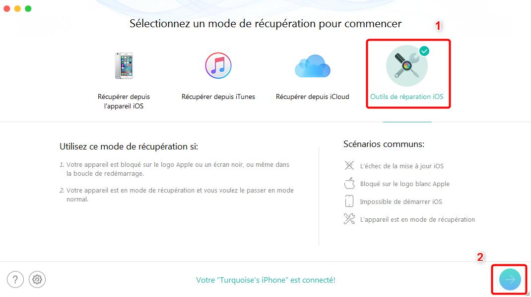 Comment débloquer votre iPhone en mode anormal - étape 2