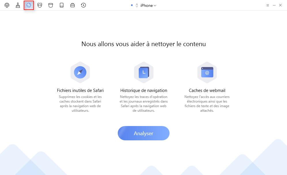 Choisissez Nettoyage d'internet pour effacer l' historique sur iPhone - étape 1