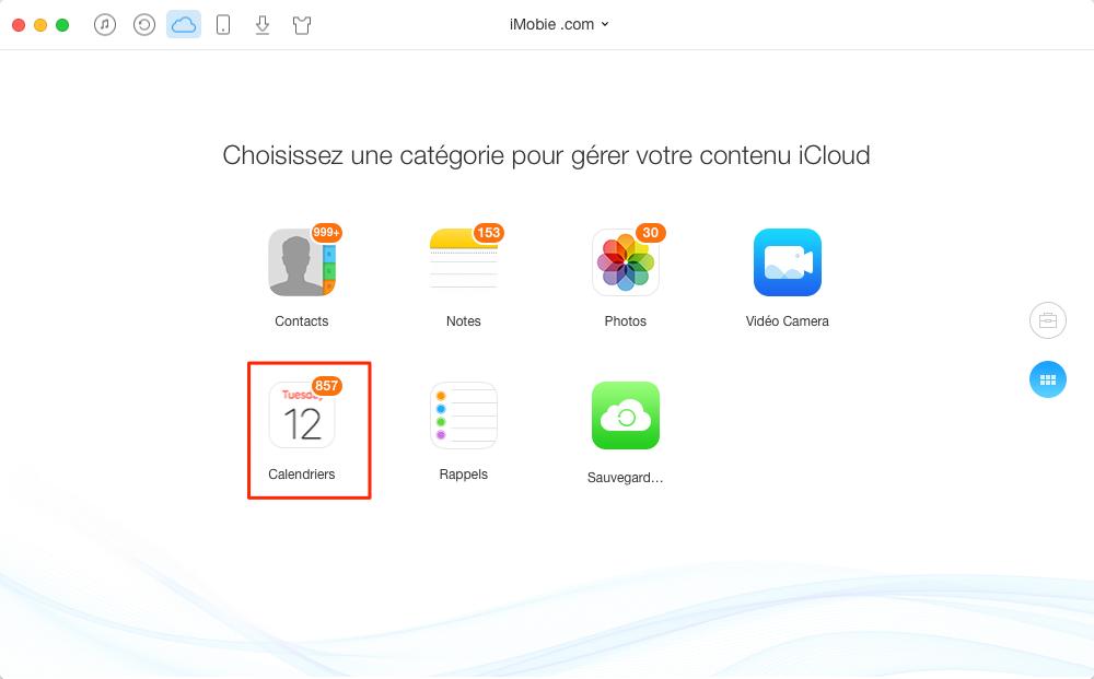 Transférer les éléments de Calendrier iCloud vers ordinateur – étape 3
