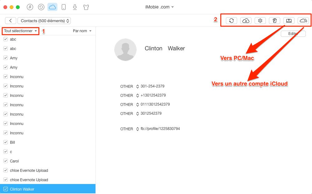 Exporter les contacts de iCloud – étape 4