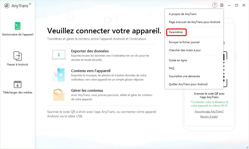 Étapes pour exporter des SMS au format TXT ou HTML sur Android - Étape 1