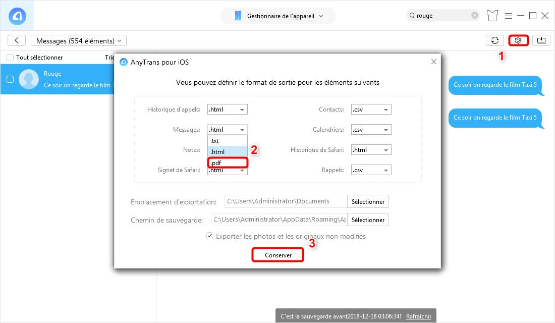 Comment exporter les messages iPhone en format PDF – étape 2