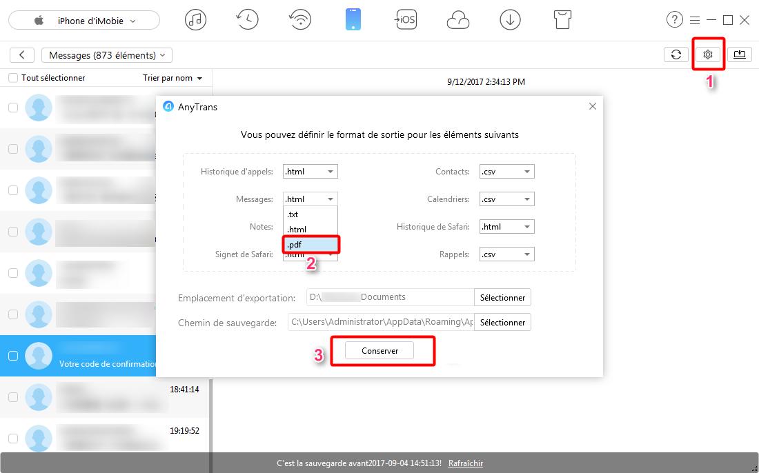 Comment exporter les SMS iPhone en format PDF – étape 3