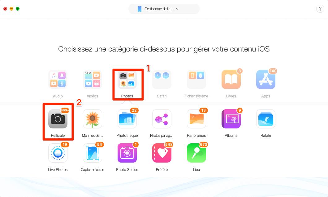 Consulter avant d'extraire les photos iPhone vers Mac - étape 2