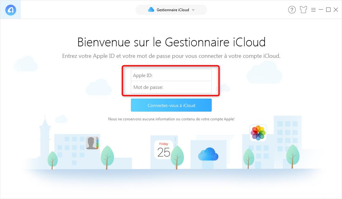 Saisie des informations personnelles pour extraire la sauvegarde iPhone iCloud - étape 2